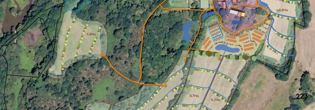 Plan des aménagement prévus pour l'écovillage